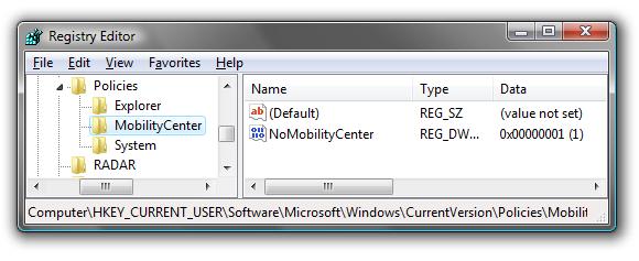 Desactivar Windows Mobility Center en Windows 7 1