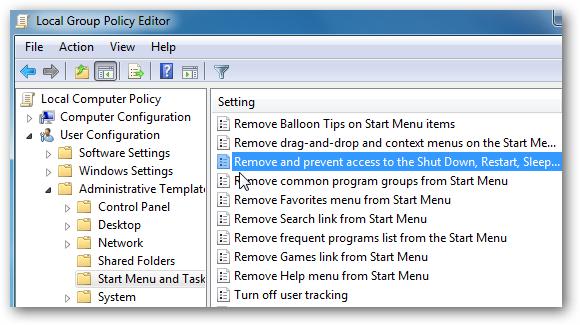 Quitar botones de Apagado y Encendido en Windows 7 2