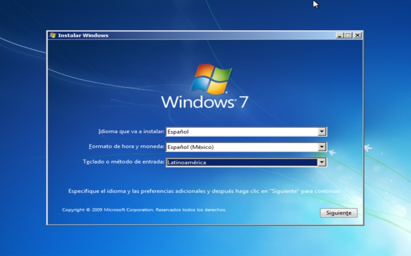 Instalador Windows 7