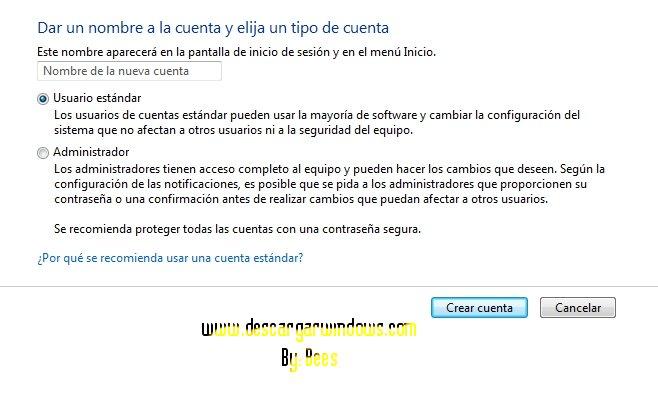 Crear cuenta usuario en Windows paso 4