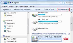 Borrar CD o DVD regrabable en Windows 7 1