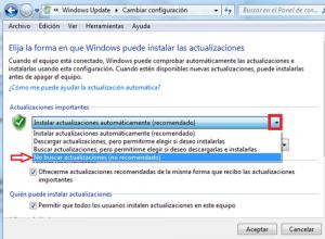 Desactivar actualizaciones automáticas en Windows 7 1