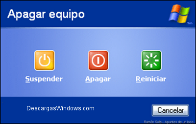 Apagar el ordenador en Windows 7,  Windows Vista y Windows XP 2