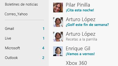 Windows 8 agregar cuentas de correo